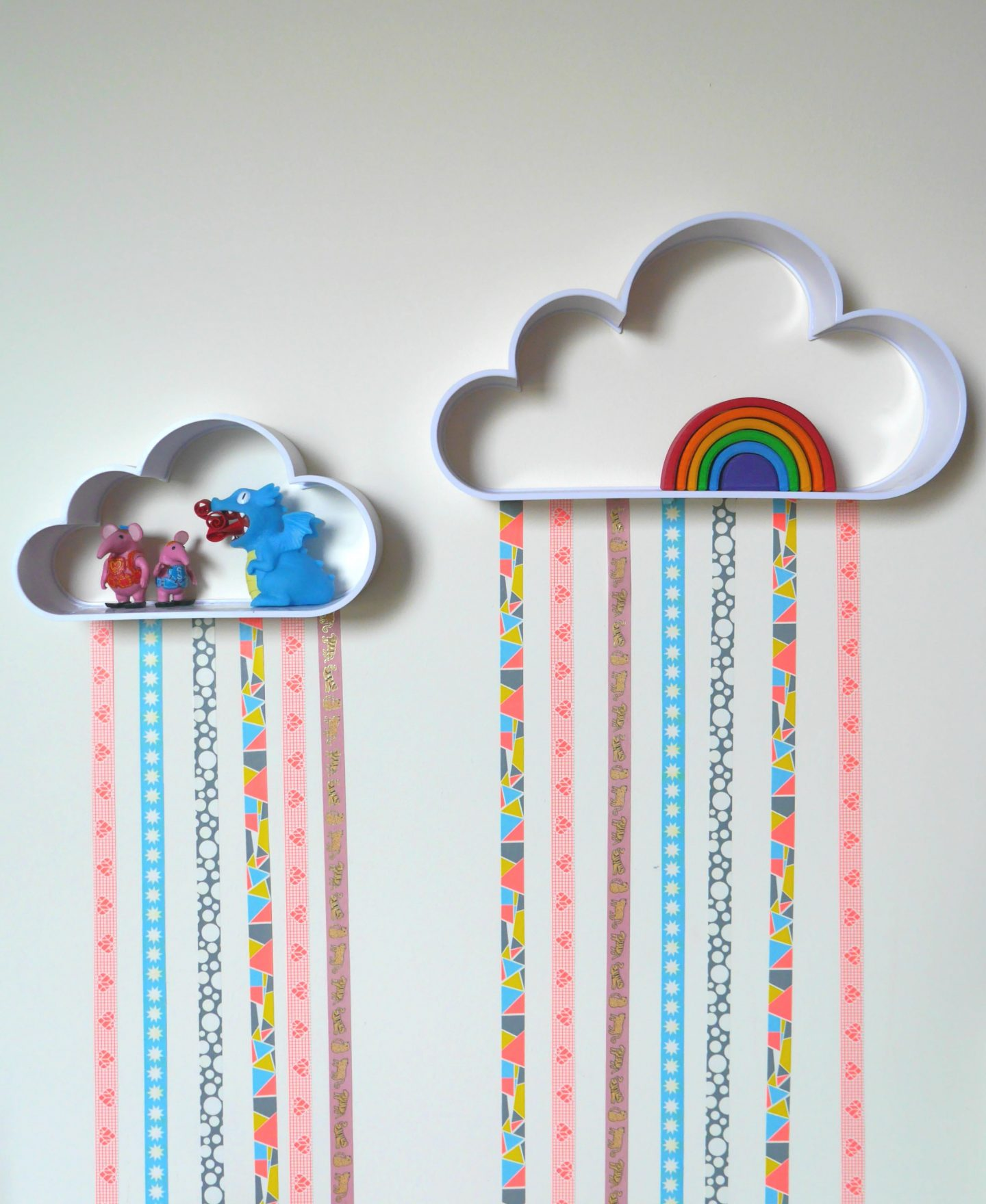 How to make easy cloud shelves with washi tape rain for children's rooms - easy #DIY #kidsrooms #interiors
