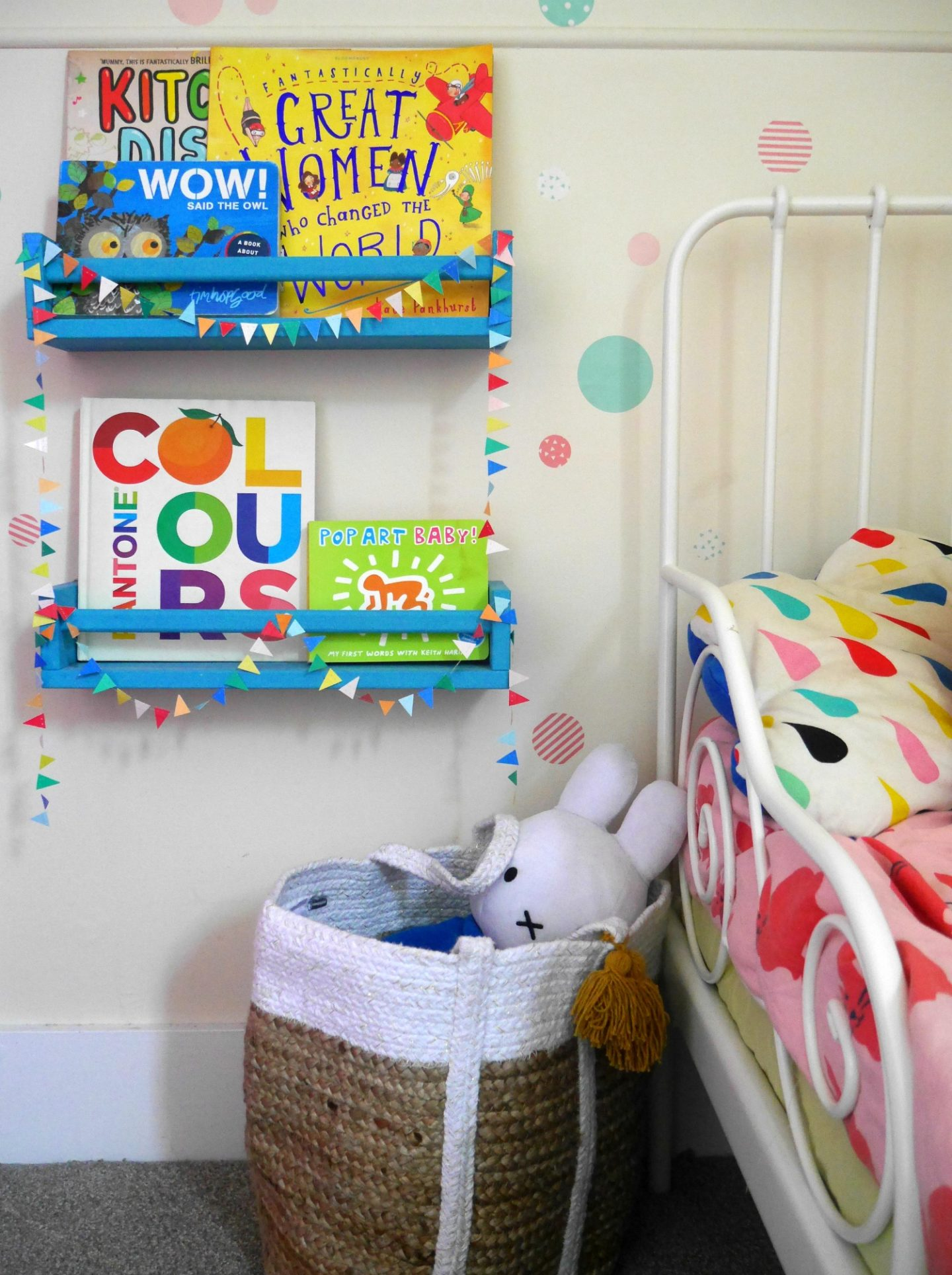 IKEA Hack bookshelves painted, in a colourful children's bedroom