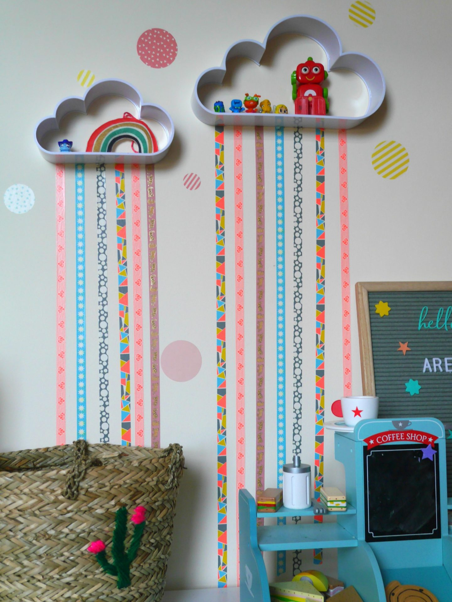 Washi tape rainbow wall shelves and wall stickers