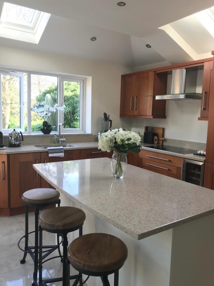Singe storey extension adding light to a family kitchen