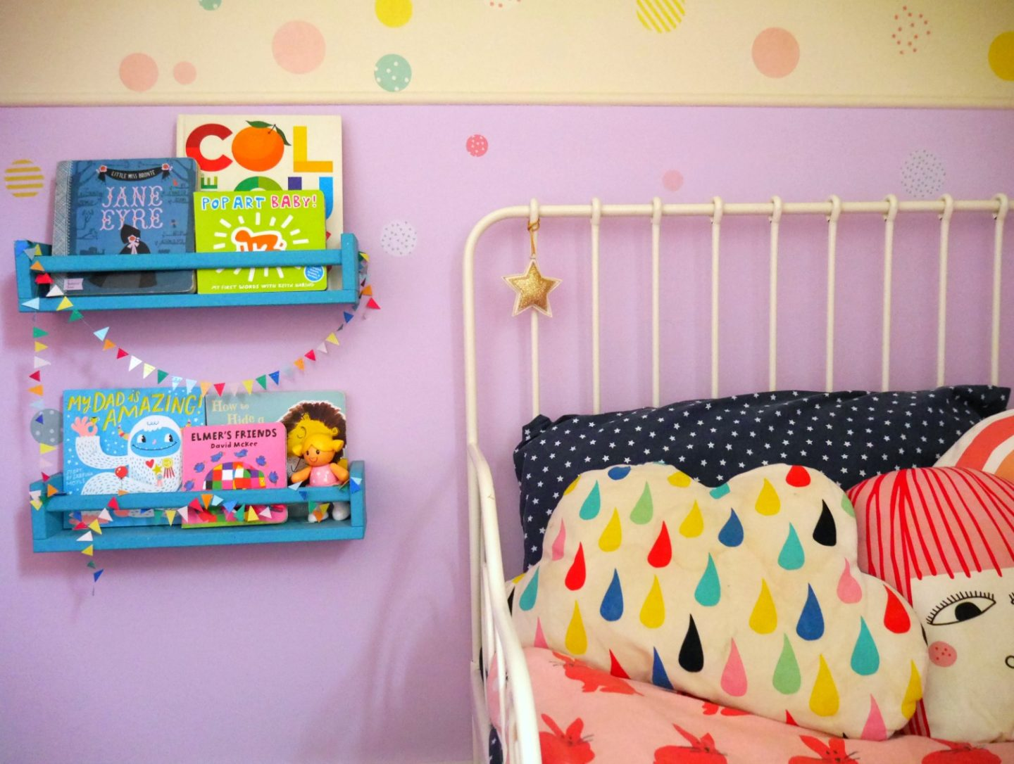 Colourful children's bedrooms - IKEA spice rack bookshelves