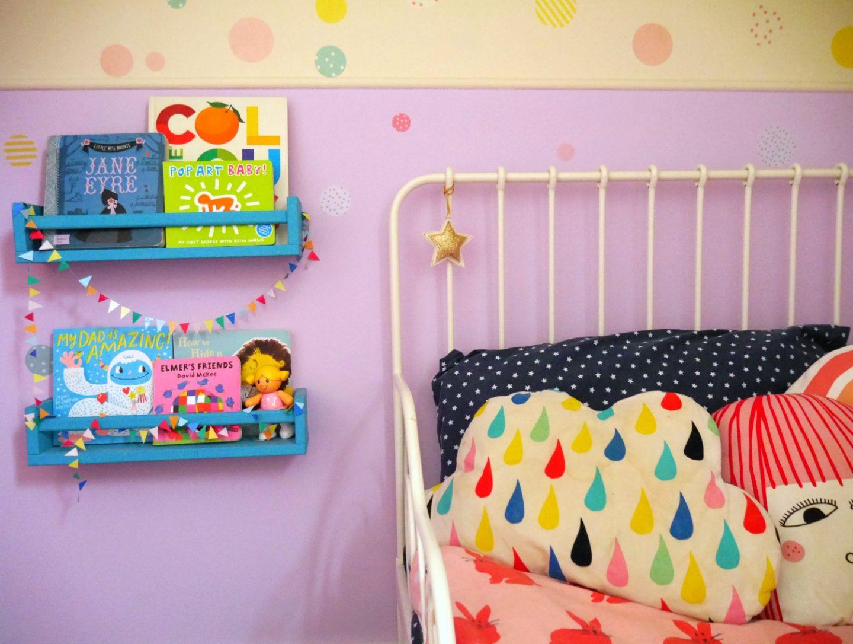 Colourful children's bedrooms - IKEA spice rack bookshelves