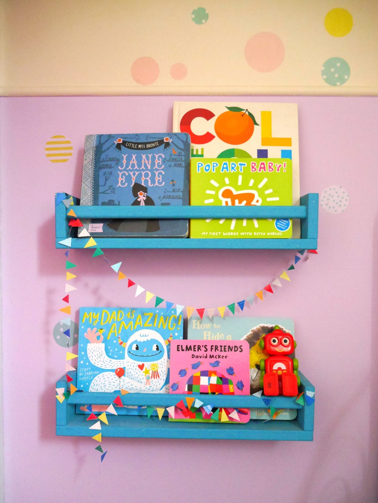 IKEA spice rack bookshelves and painted rooms - children's rooms