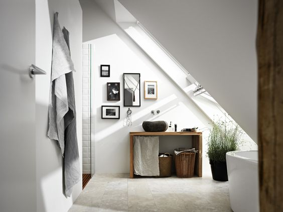 Loft conversion bathroom ideas - how to use VELUX windows to make a small space look bright and airy