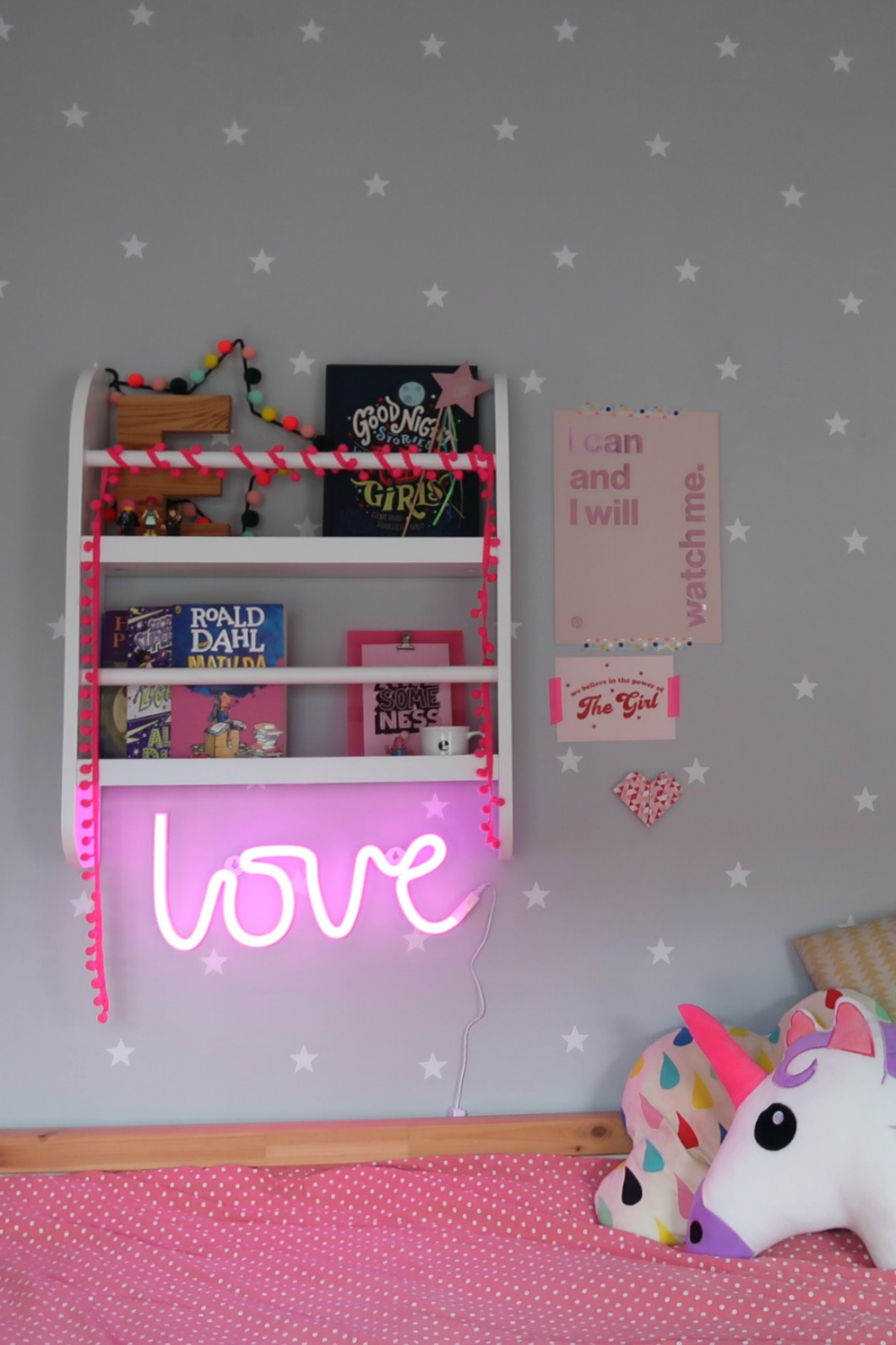Star print wallpaper and Greenaway bookcase from GLTC - pink and grey children's rooms