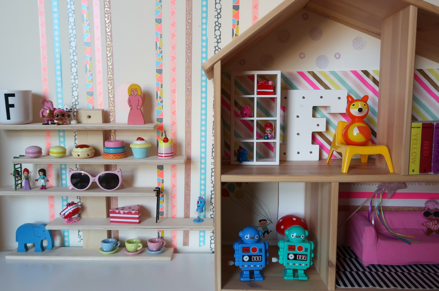 Storage hacks with IKEA Flisat dollshouse storage and IKEA Lugtisgt shelves