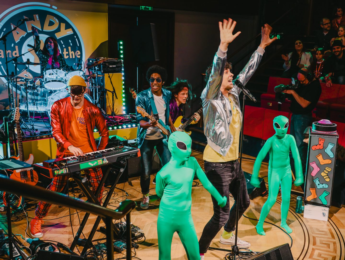 Andy and The Band with aliens, live BBC screening