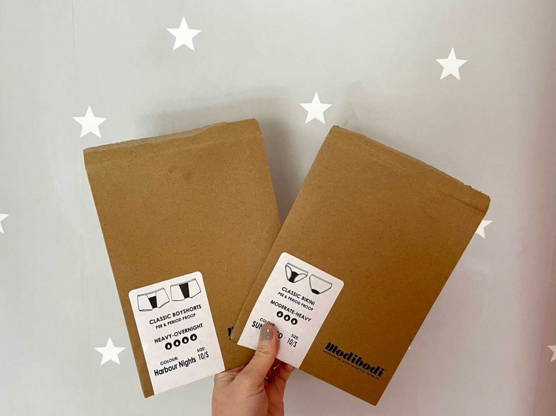 Modibodi period pants packaging